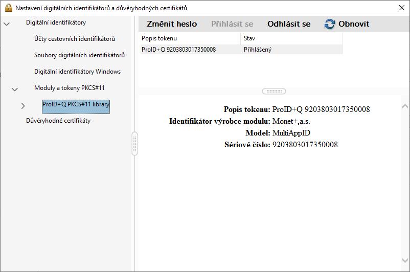 Adobe Reader – přihlášení k bezpečnostnímu zařízení