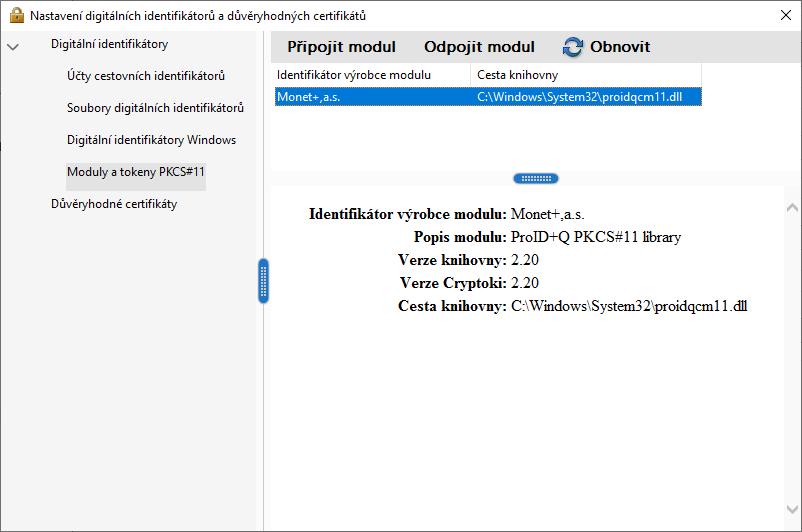 Adobe Reader – připojený modul ProID+Q PKCS11