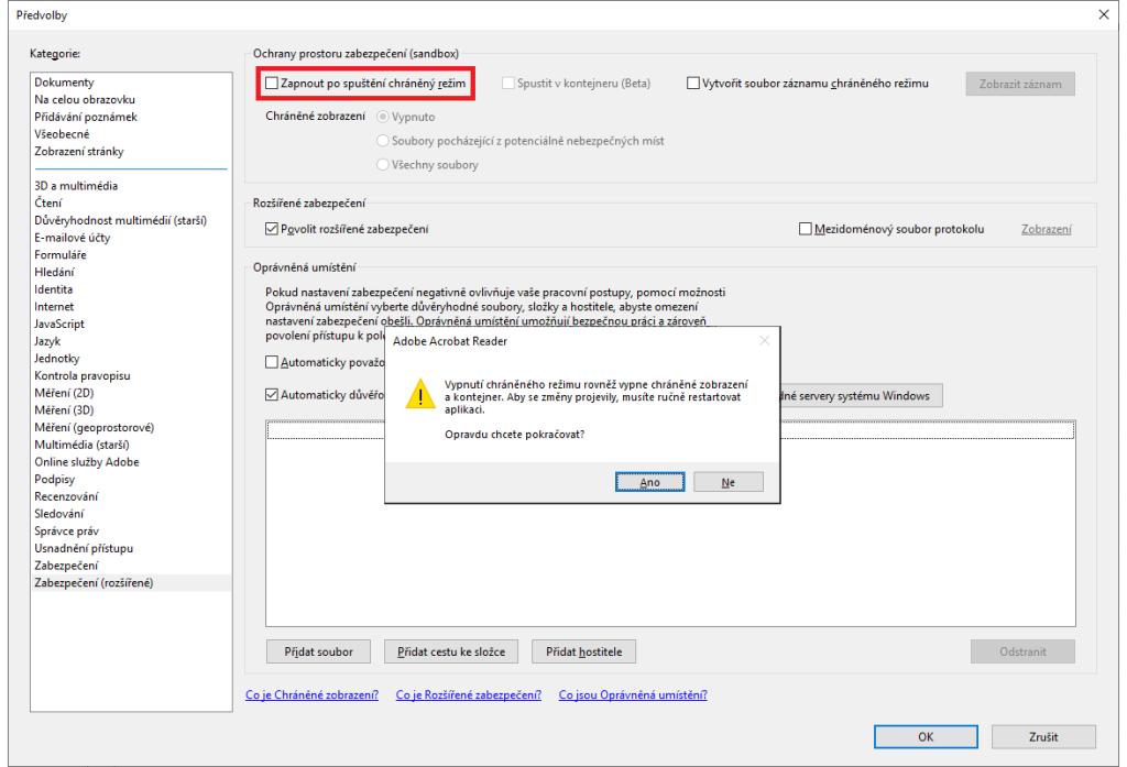 Adobe Reader – vypnutí ochrany (Sandbox)
