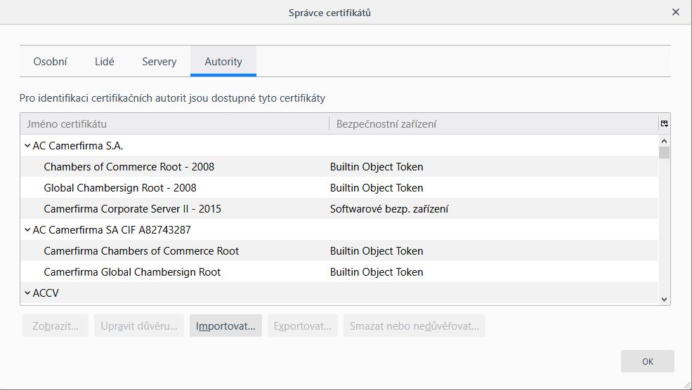 Firefox – import certifikátů CA