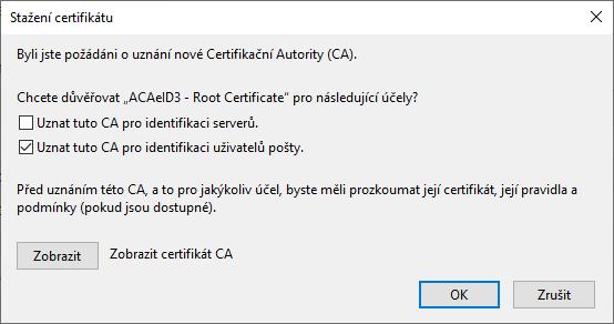 Firefox – stažení certifikátu CA
