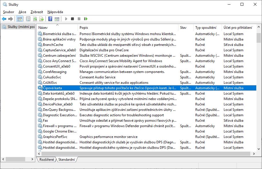 Přehled služeb OS Windows